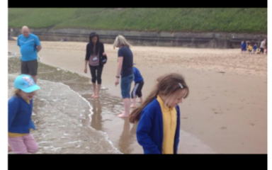 KS1 at Tynemouth Beach……before the torrential rain storm!