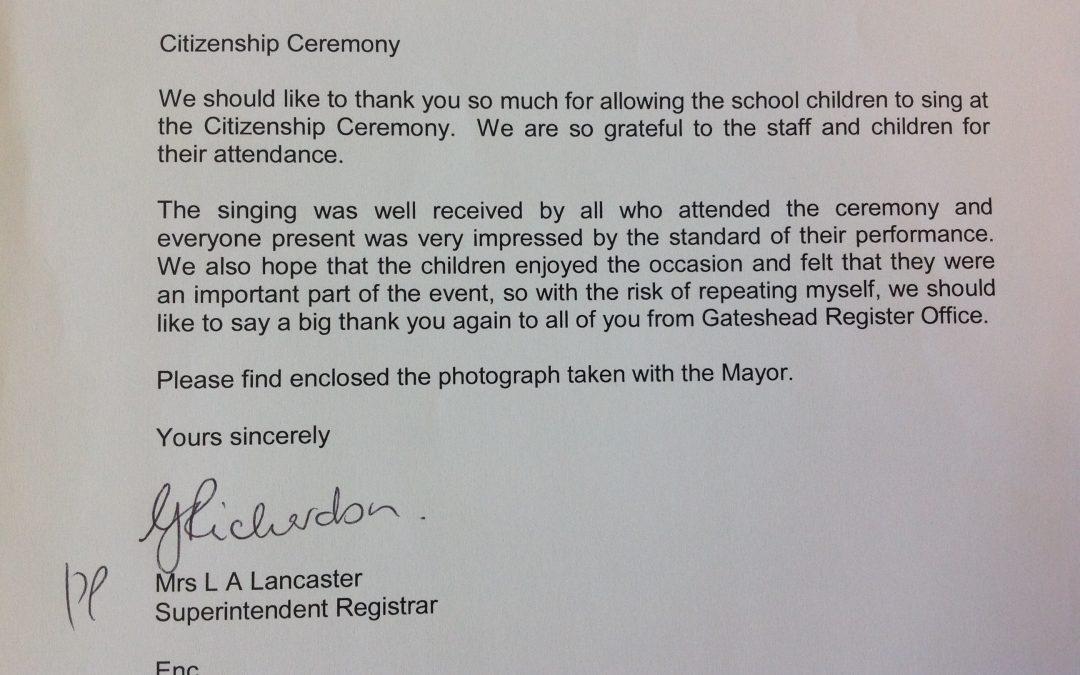 Citizenship Ceremony Appreciation