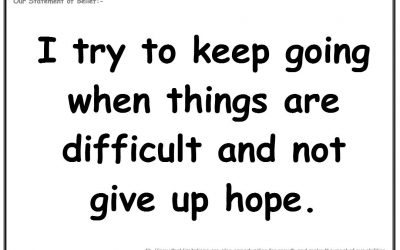 Wednesday 20th March 2019:  I try to keep going when things are difficult and not give up hope