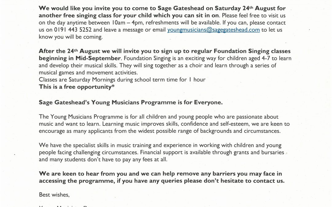 Foundation Singing Event Reminder