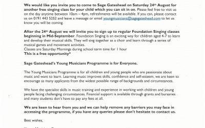 Foundation Singing Event Reminder
